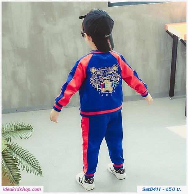 ชุดเสื้อกางเกงแขนยาว สไตล์ Kenzo สีน้ำเงินแดง