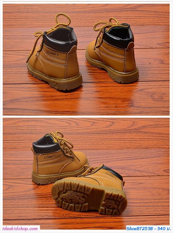 รองเท้าบูทสั้นแต่งเชือกทูโทน Comfy สีน้ำตาล