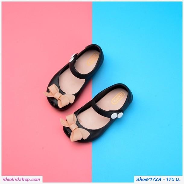 รองเท้ารัดส้นติดโบว์แฟชั่น Mini Melissa สีดำ