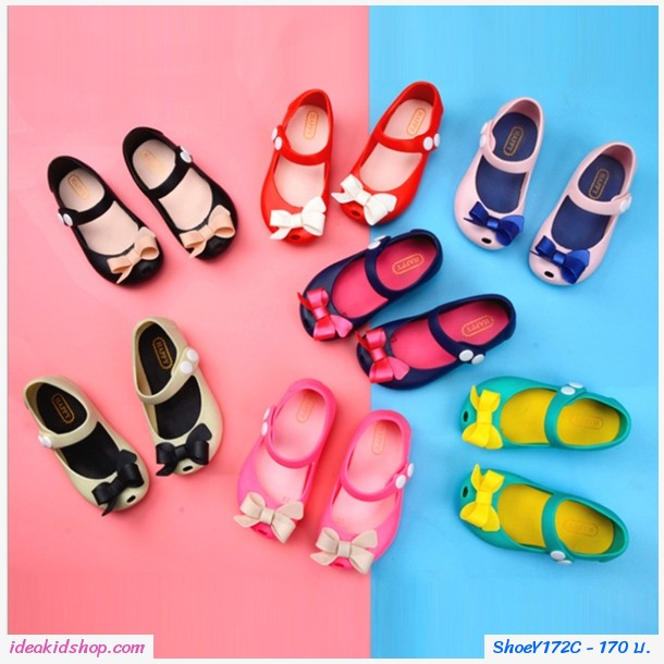 รองเท้ารัดส้นติดโบว์แฟชั่น Mini Melissa สีชมพู