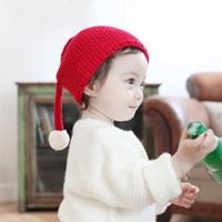 หมวกไหมพรม-Xmas-เอลฟ์น้อย-แต่งพู่นุ่มนิ่ม-สีแดง