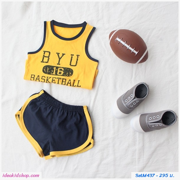 ชุดเสื้อกางเกงขาสั้น Basketball 16 สีเหลืองกรม