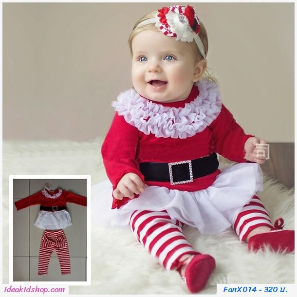 ชุดเสื้อกางเกงสาวน้อยซานตี้ Xmas ลายทาง สีแดง