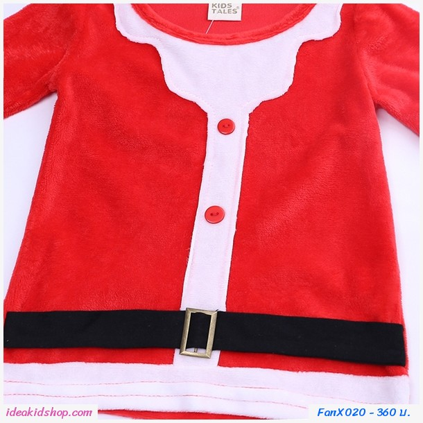 ชุดเสื้อกางเกง Xmas หนูน้อยซานต้าคลอส+หมวก สีแดง