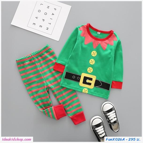 ชุดเสื้อกางเกง Xmas พ่อบ้านเอลฟ์ Santa สีเขียว