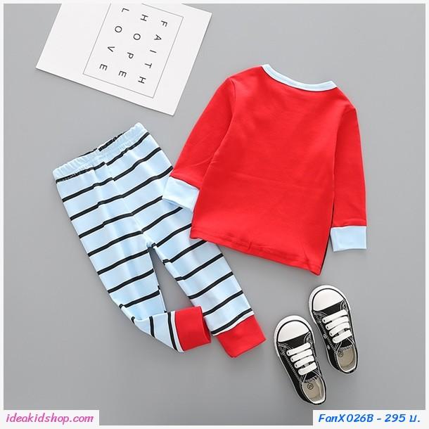 ชุดเสื้อกางเกง Xmas กวางเรนเดียร์และผลไม้ สีชมพู