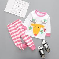 ชุดเสื้อกางเกง-Xmas-กวางเรนเดียร์และผลไม้-สีชมพู