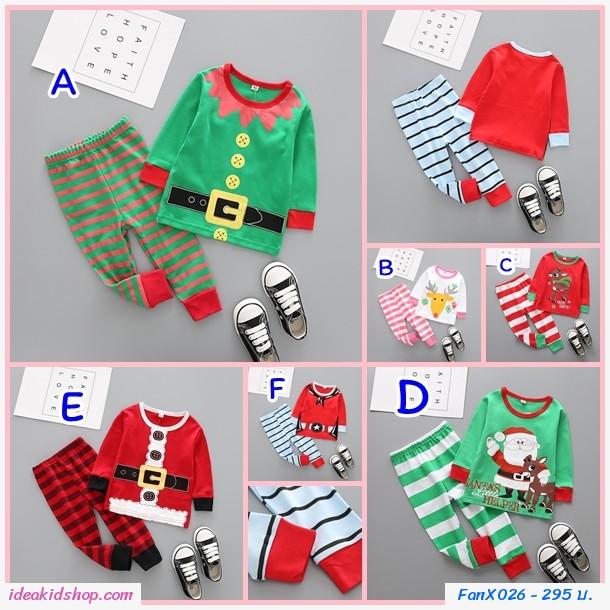ชุดเสื้อกางเกง Xmas Cowboy Santa สีเเดง