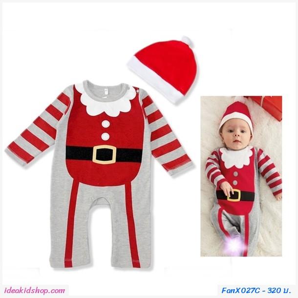 ชุดบอดี้สูท Xmas พร้อมหมวก มิสเตอร์ซานต้า สีแดง