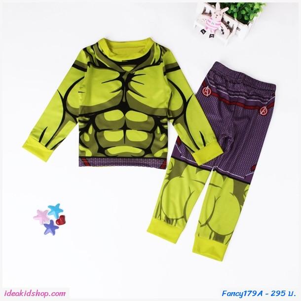 ชุดเสื้อกางเกงลายกล้ามยอดมุนษย์ Hulk สีเขียวม่วง