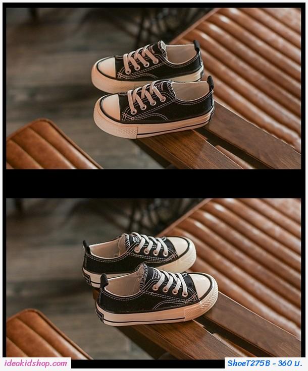 รองเท้าผ้าใบหุ้มส้นสไตล์ Converse JP Star สีดำ