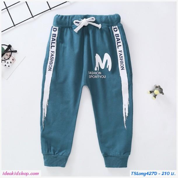 กางเกงวอร์มเด็กขาจั๊ม M Fashion Sport สีเขียวเทา