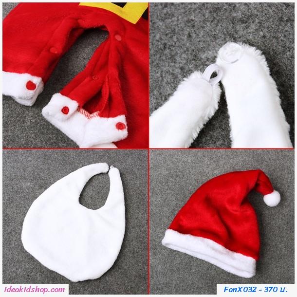 บอดี้สูทซานต้า Xmas +หมวก+ผ้ากันเปื้อน สีแดง