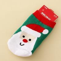 ถุงเท้าสั้นเด็ก-Xmas-Santa-สีเขียว