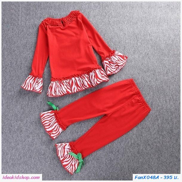 ชุดเสื้อกางเกง Xmas คุณหนูโบวี่ ลายลุงซานต้า สีแดง
