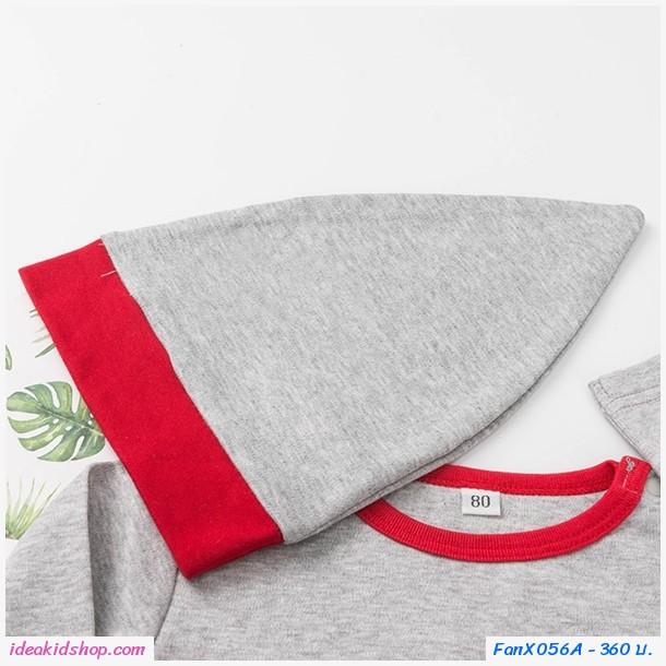 บอดี้สูท+กางเกง+หมวก Xmas SANTA FOR GIFT สีเทาแดง