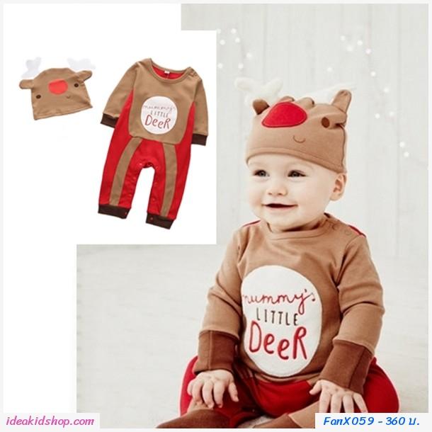 บอดี้สูทแขนยาวพร้อมหมวก Xmas Little Deer สีน้ำตาล