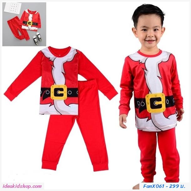 ชุดเสื้อกางเกง Xmas สกรีนลายชุดเข็มขัดซานต้า สีแดง