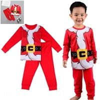 ชุดเสื้อกางเกง-Xmas-สกรีนลายชุดเข็มขัดซานต้า-สีแดง