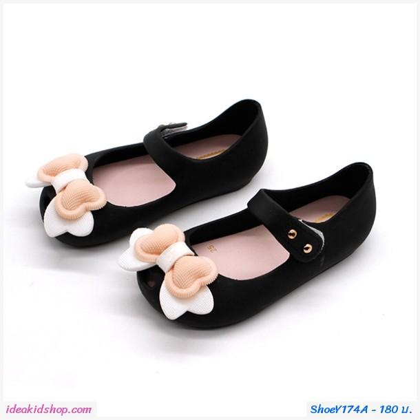 รองเท้ารัดส้นแต่งโบว์อมยิ้ม Melissa Bowy สีดำ