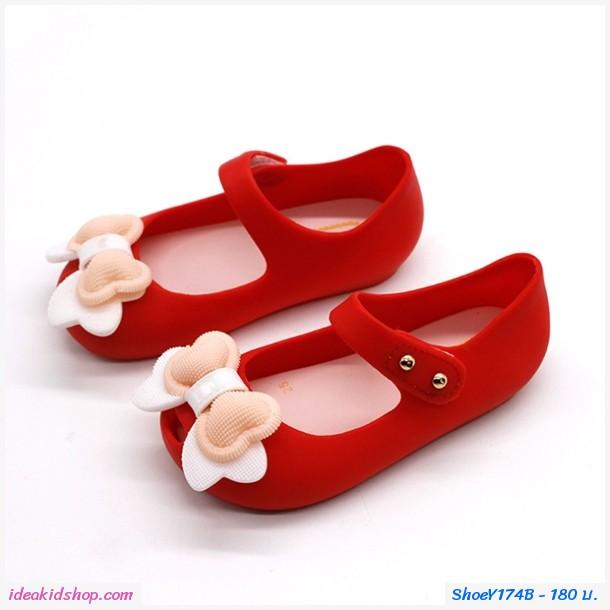 รองเท้ารัดส้นแต่งโบว์อมยิ้ม Melissa Bowy สีแดง