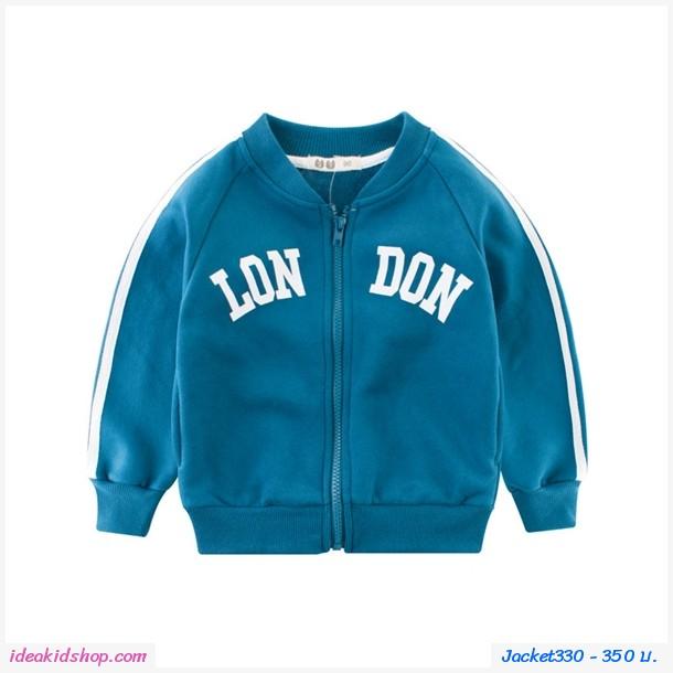 Jacket กันหนาวแขนจั๊มสุดเท่ ลาย LONDON สีฟ้าเขียว