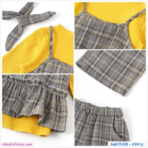 ชุดเสื้อกางเกง+ที่คาดผม Korea สีเหลือง(ได้ 4 ชิ้น)