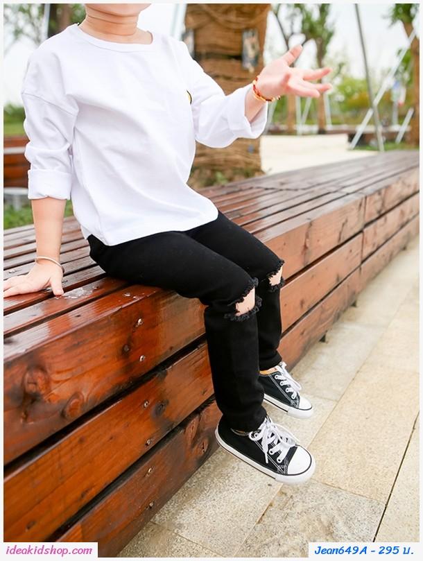 กางเกงยีนส์ขาดเข่าแฟชั่นเกาหลี สีดำ
