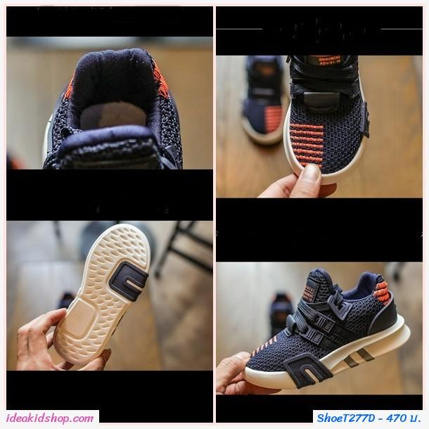 รองเท้าผ้าใบเด็กสไตล์สปอร์ต QNM สีกรม