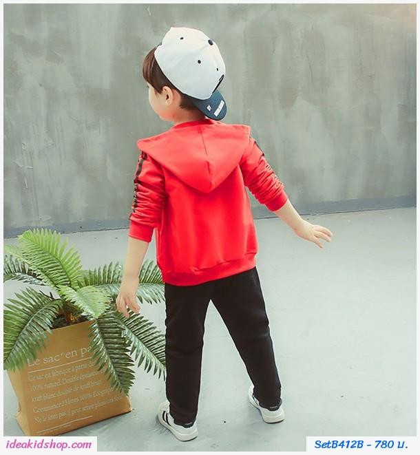 ชุดเสื้อกางเกงมีฮู้ด Gucci สีแดง(ได้ 3 ชิ้น)