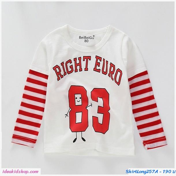 เสื้อแขนยาวแฟชั่น ลายทาง Right Euro 83 สีขาวแดง