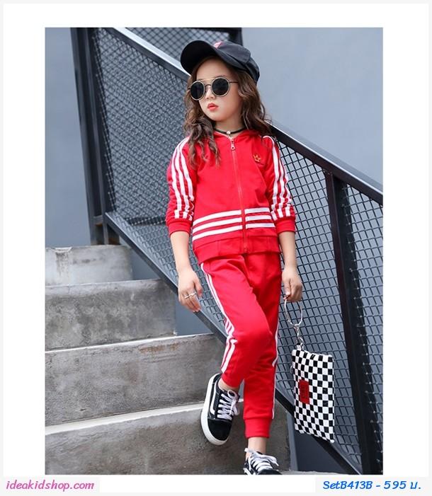 ชุดเสื้อกางเกงมีฮู้ด มงกุฎ สีแดง