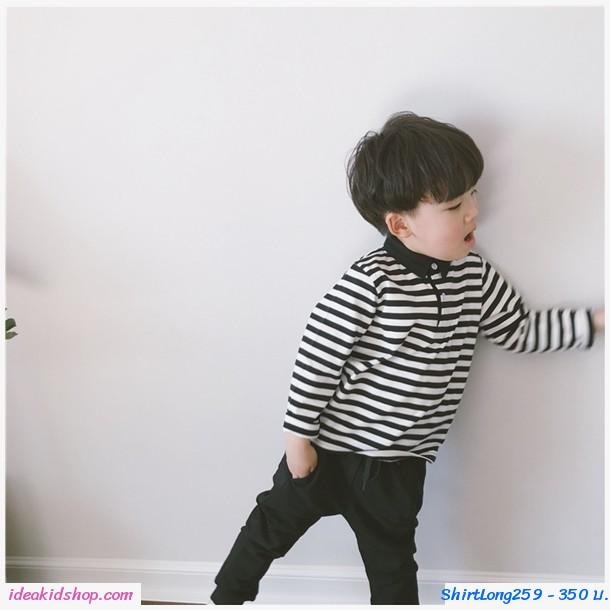 เสื้อแขนยาวคอปก ลายทาง Black Stripe สีขาวดำ