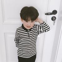 เสื้อแขนยาวคอปก-ลายทาง-Black-Stripe-สีขาวดำ