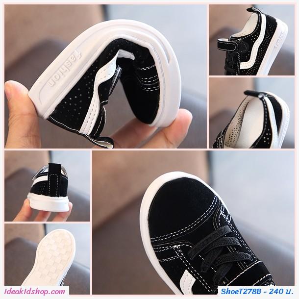 รองเท้าผ้าใบแต่งรูระบายสุดชิคสไตล์ Vans สีเทา