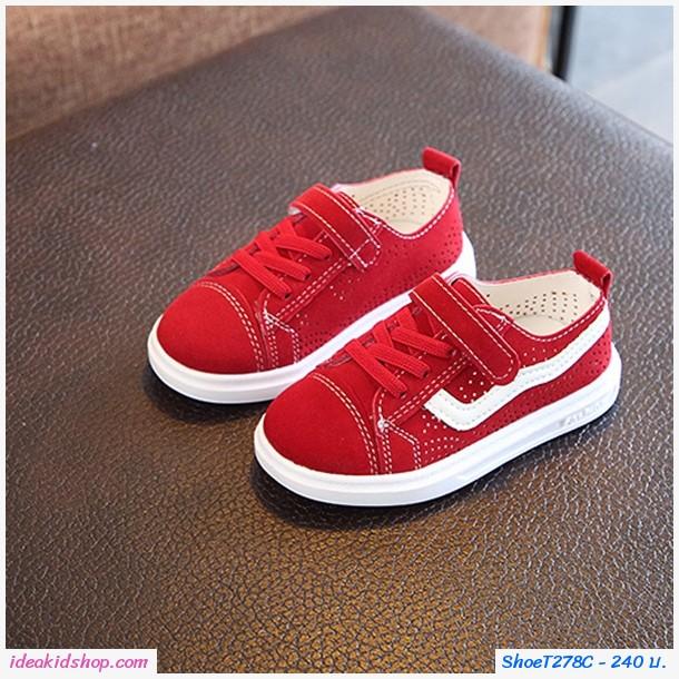 รองเท้าผ้าใบแต่งรูระบายสุดชิคสไตล์ Vans สีแดง