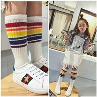 ถุงเท้ายาวแฟชั่น-สีรุ้งหลากสี--สีขาว
