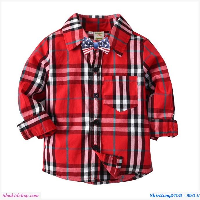 เสื้อเชิ้ตแขนยาว+โบว์หูกระต่าย Burberry สีแดง