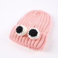 หมวกไหมพรม-ติดเข็มกลัดตาปลาหมึก-สีชมพู