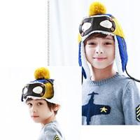 หมวกไหมพรม-นักบินสุดเท่-สีน้ำเงินเหลือง