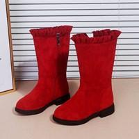 รองเท้าบูท-ปลายระบาย-สีแดง
