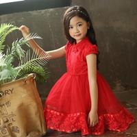เดรสจีนออกงานผูกโบว์-ปักฉลุ-Princess--สีแดง