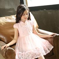 เดรสจีนออกงานผูกโบว์-ปักฉลุ-Princess--สีชมพู