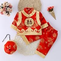 ชุดเสื้อกางเกงฮ่องเต้_หมวก-ลาย-B(3ชิ้น)-สีแดง