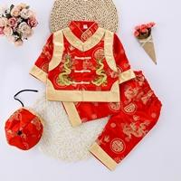 ชุดเสื้อกางเกงฮ่องเต้_หมวก-ลาย-C(3ชิ้น)-สีแดง