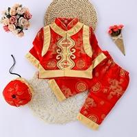 ชุดเสื้อกางเกงฮ่องเต้_หมวก-ลาย-D(3ชิ้น)-สีแดง