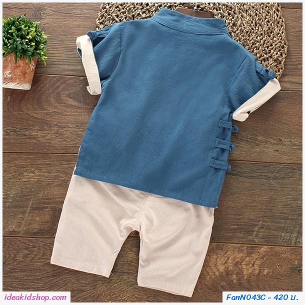 ชุดเสื้อกางเกงตรุษจีนกระดุมเฉียง สีกรม
