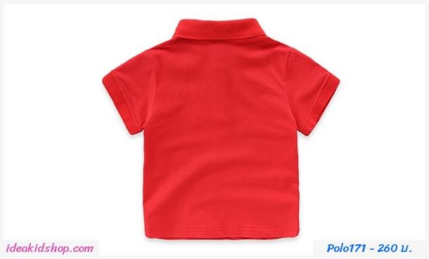 เสื้อโปโลคอปกแขนจั๊ม ตรุษจีน สีแดง