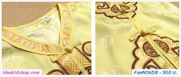 ชุดเสื้อกางเกง ตี๋น้อย ตรุษจีน พื้นลาย สีทอง