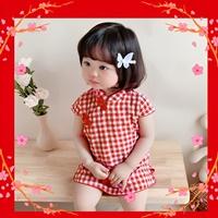 เดรสกี่เพ้าจีนแขนตุ๊กตา-ลายสก๊อต-สีแดง